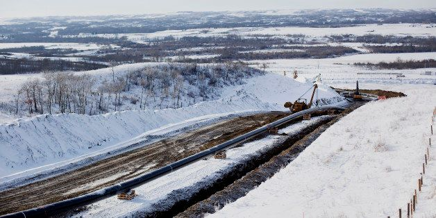 Workers continue construction on the Enbridge Inc. Athabasca Pipeline Twinning project in Hardisty, Alberta, Canada, on Satur