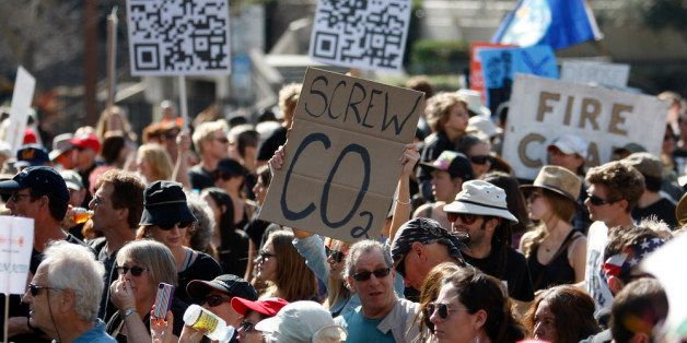 LOS ANGELES, CA - FEBRUARY 17:  Demonstrators march to the 'Forward on Climate' rally to call on President Obama to take stro