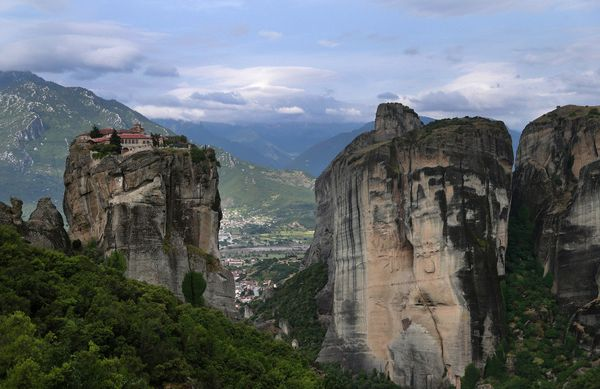 The monastery of Agia Trias is seen at Meteora in northern central Greece, on Tuesday May 14, 2013. Meteora, a UNESCO World H