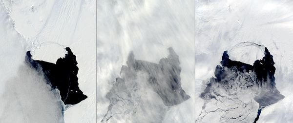 """NASA images show a massive iceberg floating away from Antarctica's Pine Island Glacier. The <a href=""""https://www.huffpost.com"""