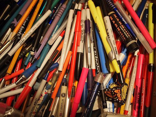 "Fill a bag of empty writing utensils and click over to the <a href=""http://www.terracycle.com/en-US/brigades/writing-instrume"