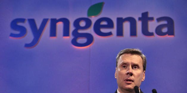 Michael Mack, Chief Executive Officer of Swiss agrochemicals group Syngenta, addresses a press conference to announce the com