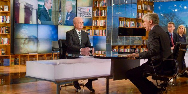 MEET THE PRESS -- Pictured: (l-r) Michael Hayden, Fmr. Director of the NSA and CIA General, David Gregory -- (Photo by: Krist