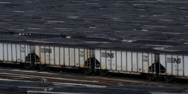 Loaded Norfolk Southern coal trains sit before being unloaded at Lambert's Point Coal Terminal in Norfolk, Virginia, U.S., on