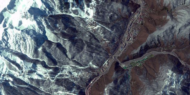 THE 2014 WINTER OLYMPICS MOUNTAIN VENUES, SOCHI, RUSSIA - MARCH 17, 2013:  This is a satellite image of the 2014 Winter Olymp