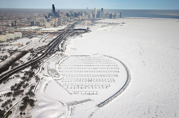 Ice covers the shoreline of Lake Michigan on February 18, 2014. (Photo by Scott Olson/Getty Images)