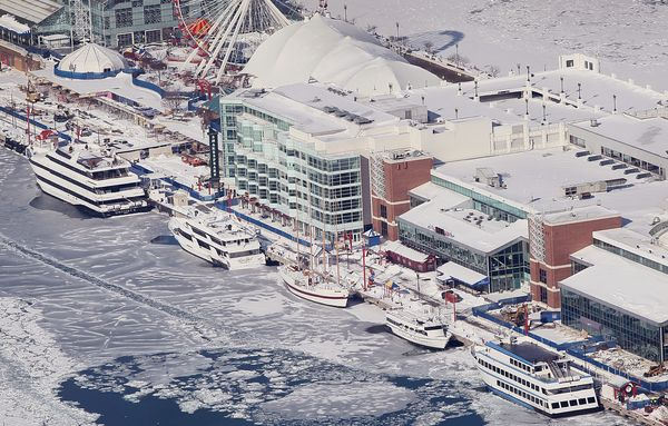 Boats docked at Navy Pier in Lake Michigan are surrounded by ice on February 18, 2014.  (Photo by Scott Olson/Getty Images)