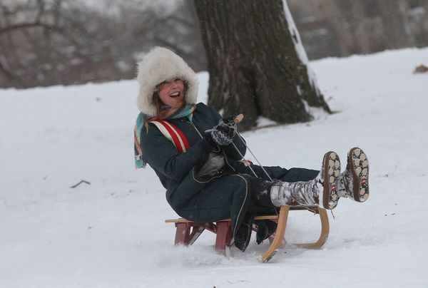 A person goes down a hill on a sled in Humboldt Park on January 2, 2014. (Photo by Scott Olson/Getty Images)