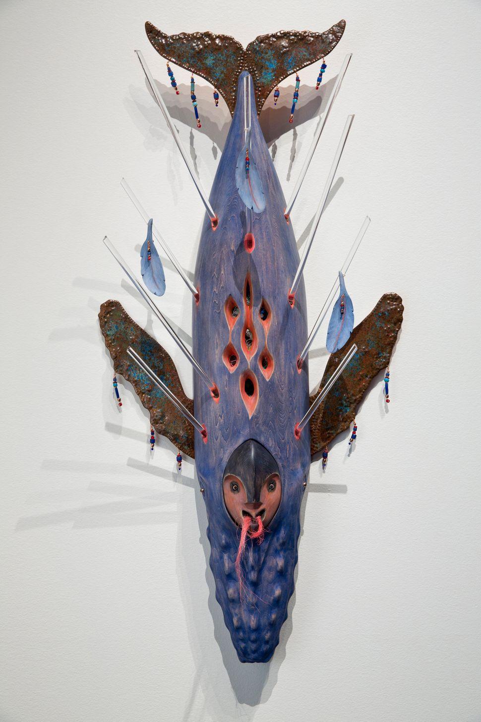 "Rebecca Lyon, ""Plastic Death,"" mixed media, Pratt Museum collection. As an Alaska Native artist, Rebecca Lyon mixes tradition"