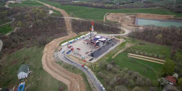 Patterson-UTI Energy Inc. horizontal drilling rig 256 sits on a natural gas pad in Chartiers Township, Washington County, Pen