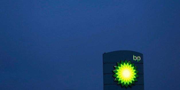 An illuminated sign stands on the forecourt of a BP gas station, operated by BP Plc, in Upminster, U.K., on Thursday, Feb. 28