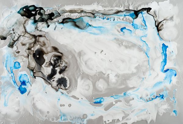 """Micro/Macro,"" ink on mylar painting by Michele Banks.   (Photo by <a href=""http://www.flickr.com/photos/118534924@N04/127323"