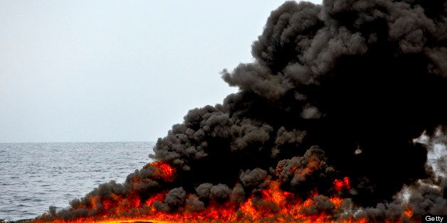 A controlled burn of oil is conducted near the source of the BP Plc Deepwater Horizon oil spill in the Gulf of Mexico off the