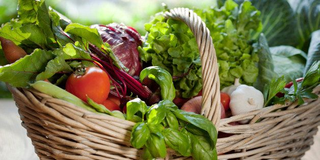 Wicker basket with fresh vegetables.
