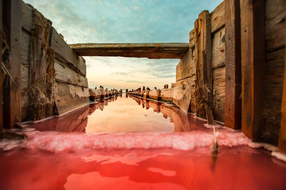 Sparkling red water contrasts with the clear blue sky at the derelict salt field in Crimea, Ukraine.