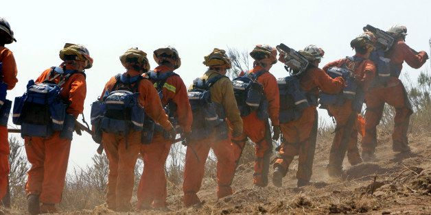 A fire crew comprised of female inmates from the California Department of Corrections and Rehabilitation's conservation camp