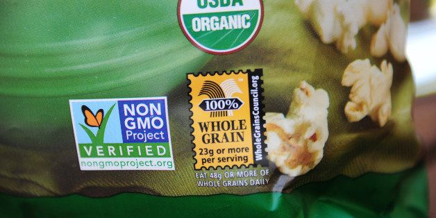 A label on a bag of popcorn indicates it is a non-GMO food product, in Los Angeles, California,  October 19, 2012.  Californi