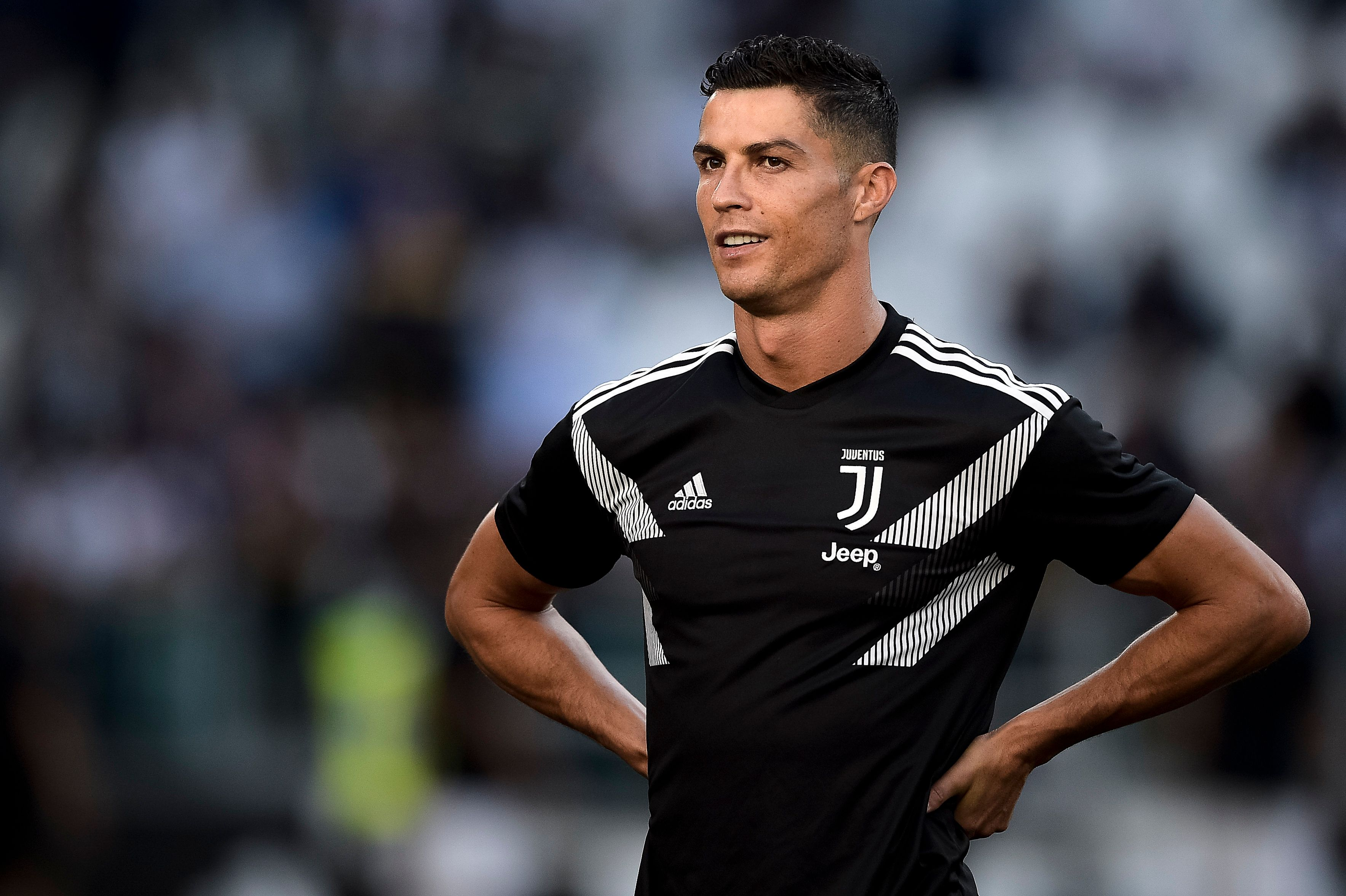 ALLIANZ STADIUM, TURIN, ITALY - 2018/09/29: Cristiano Ronaldo of Juventus FC smiles prior to the Serie A football match between Juventus FC and SSC Napoli. Juventus FC won 3-1 over SSC Napoli. (Photo by Nicolò Campo/LightRocket via Getty Images)