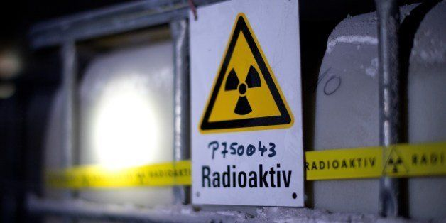 A tank containing radioactive water is seen at the Asse nuclear waste storage facility on March 4, 2014 in Remlingen, central