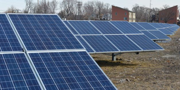 CLEVELAND, OH - MARCH 25: A ground-mounted solar array located near the intersection of Lakeview Road and Euclid Ave across the street from Lakeview Cemetery is shown on March 25, 2014 in Cleveland, Ohio. (Photo by Duane Prokop/Getty Images for TakePart.org)