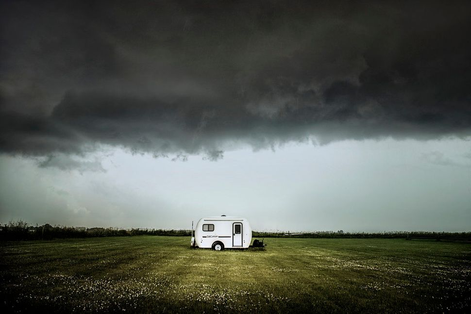 Miller photographed this tiny trailer in Nebraska just before a large storm hit the area.