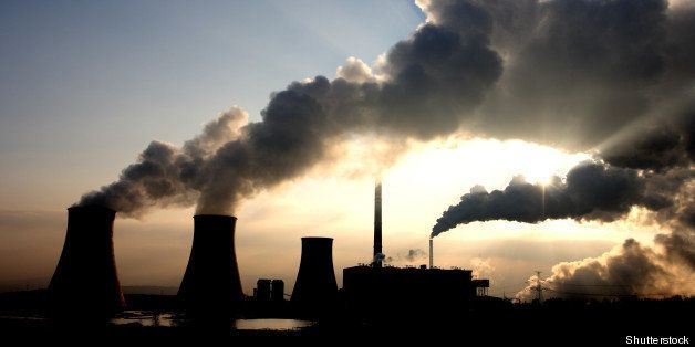 view of coal powerplant against ...