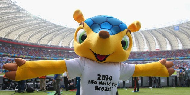 PORTO ALEGRE, BRAZIL - JUNE 25:  The World Cup mascot Fuleco ahead of the 2014 FIFA World Cup Brazil Group F match between Ni