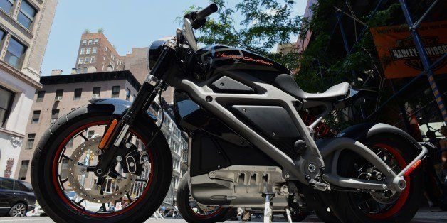 A Harley-Davidson Project LiveWire, the company's first electric motorcycle, during a preview June 23, 2014 outside a Harley-