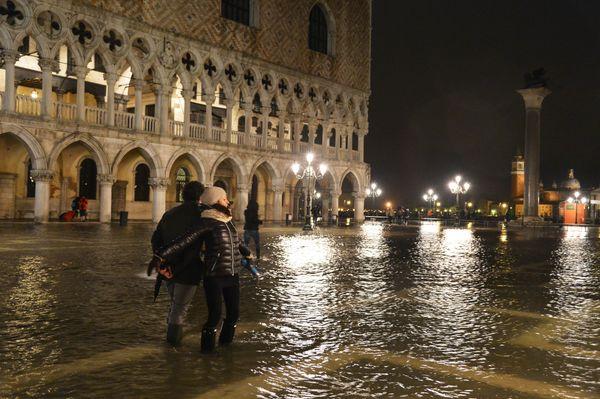 Flooded St Mark's square, Venice.