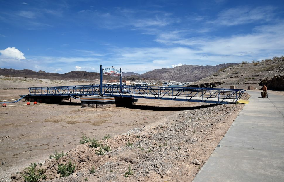 A bridge at the Callville Bay Marina is no longer open to lead visitors over the water on July 13, 2014 in the Lake Mead Nati