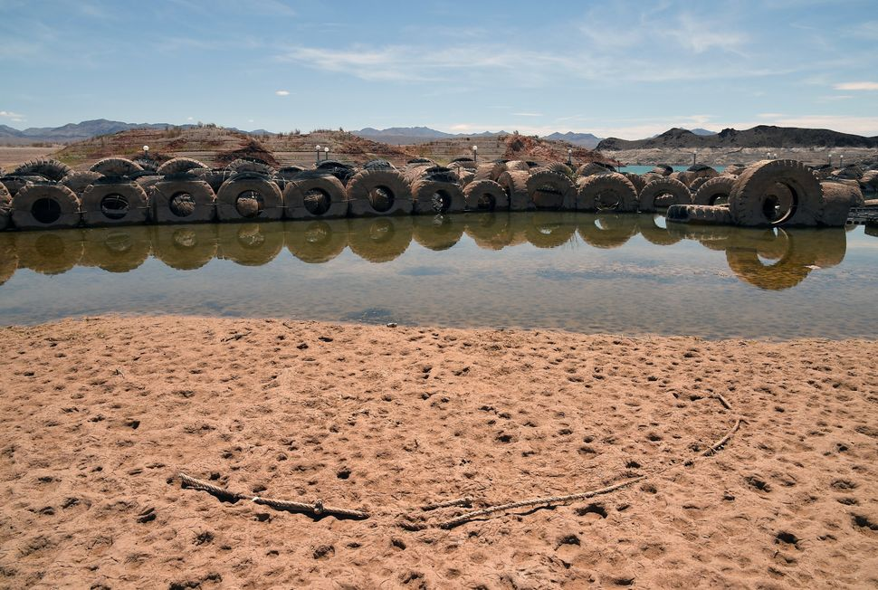 Tires once used as a breakwater sit in low water at the abandoned Echo Bay Marina on July 13, 2014 in the Lake Mead National