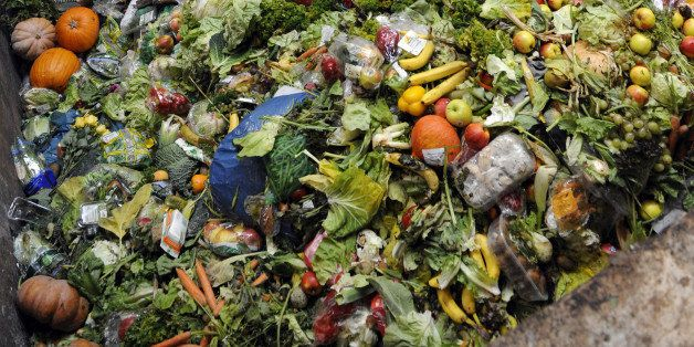 A photo taken on October 23, 2012 in Morsbach, western France, shows waste food products stocked at the Methavalor factory to