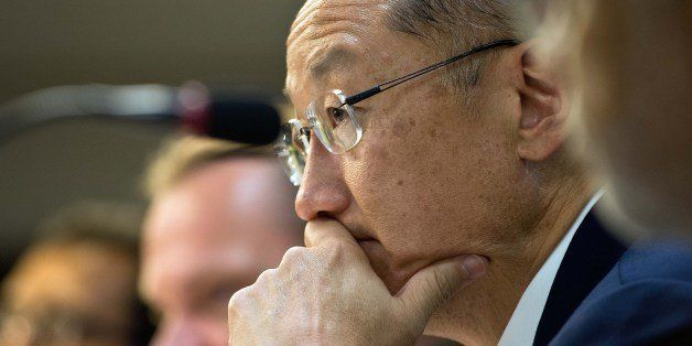 World Bank president Jim Yong Kim listens to a question during a press conference in India's capital New Delhi on July 23, 20
