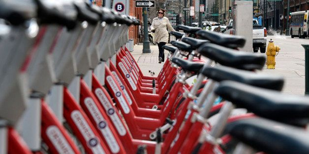 DENVER, CO - MARCH 24: The Denver B-cycle bike sharing program is doing very well. This station at 17th Street and Blake Stre