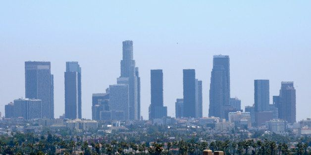 LOS ANGELES, CA - JUNE 28:  Downtown high rises are slightly distorted from heat waves during a major heat wave in Southern C