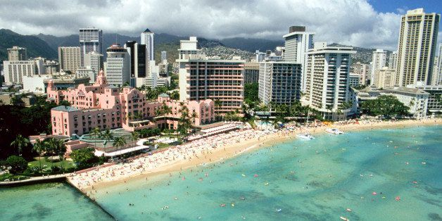 Hawaii, Oahu, Honolulu And Waikiki, Aerial View Of Royal Hawaiian Hotel. (Photo by Education Images/UIG via Getty Images)