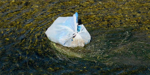 A single-use plastic bag floats along the Los Angeles River in Los Angeles, California, U.S., on Tuesday, June 24, 2014. Cali