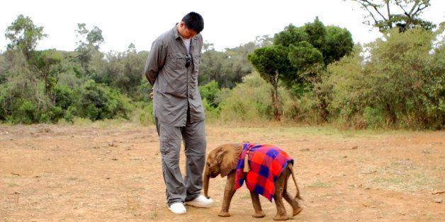 This undated image released by Animal Planet shows retired Chinese professional basketball player Yao Ming with a baby elepha
