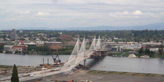 Portland's under construction transit-ped-bike only bridge.
