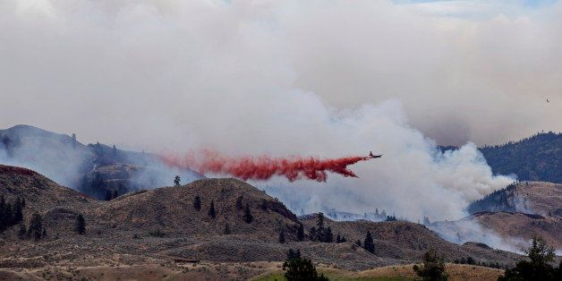 A plane drops fire retardant over a wildfire as clouds of smoke billow behind and above Saturday, July 19, 2014, near Carlton