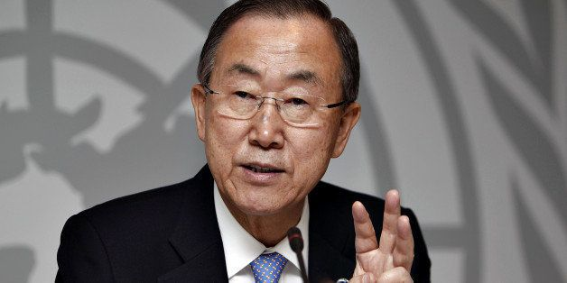 Ban Ki-moon, Secretary-General of the United Nations speaks during a press conference at the UN-City Building in Copenhagen o