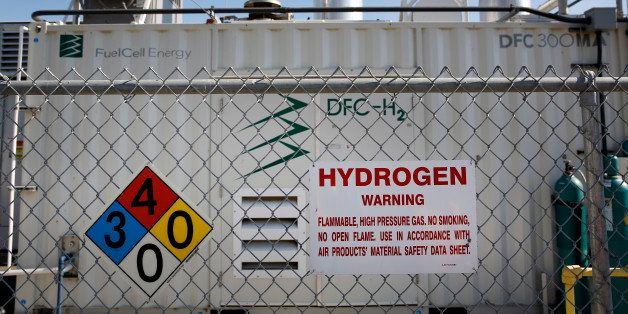 Warning signs are displayed as gas is produced in the tri-generation power and hydrogen system at the Orange County Sanitatio