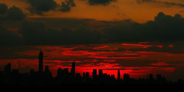 NEW YORK, NY - SEPTEMBER 01:  Sunset over Manhattan on Day Eight of the 2014 US Open at the USTA Billie Jean King National Te