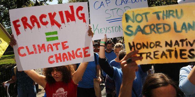 NEW YORK, NY - SEPTEMBER 21:  Anti-fracking and Keystone XL pipeline activists demonstrate in lower Manhattan on September 21