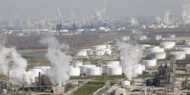 Petrochemical plants and refineries are shown in this aerial view Friday, Jan. 21, 2011 in Deer Park, Texas. (AP Photo/David