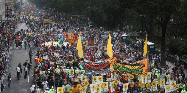 IMAGE DISTRIBUTED FOR AVAAZ - More than 100,000 people march through midtown Manhattan on Sunday, Sept. 21, 2014 as part of t