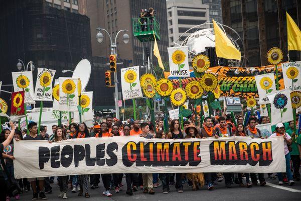뉴욕에서는 31만명이 행진에 참여했다. 역대 기후변화 관련 시위 중 최대규모다.