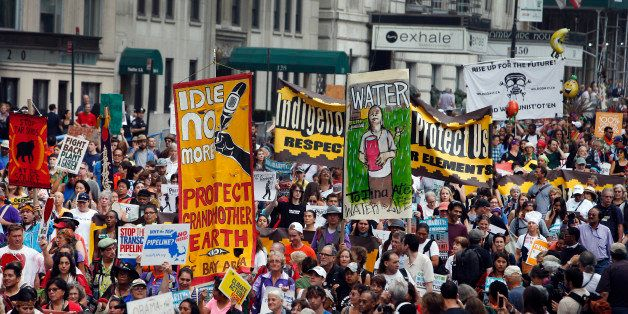 Demonstrators fill Central Park South during the People's Climate March Sunday, Sept. 21, 2014 in New York.  The march, along