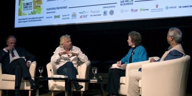 NEW YORK, NY - SEPTEMBER 22:  Founder of Virgin Group Sir Richard  Branson discusses the interaction between business and cli