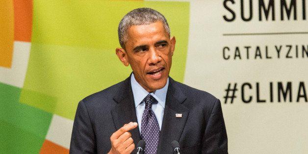 NEW YORK, NY - SEPTEMBER 23:  U.S. President Barack Obama speaks at the United Nations Climate Summit on September 23, 2014 i